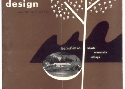 Alvin Lustig, Cover for Design Magazine, April 1946, 11 3/4 x 9 inches. Black Mountain College Museum + Arts Center Collection.