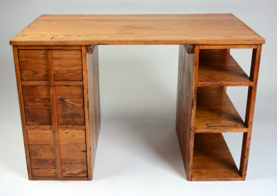 Josef Albers (designer), Desk for BMC Students, ca. 1939, Chestnut, other woods, and plywood, 29 x 44 x 26 inches. Black Mountain College Museum + Arts Center Collection. Gift of Peggy Barton French.