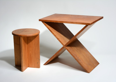 A. Lawrence Kocher, Stool and Side Table, 1942, 16.125 x 11.625 x 11.625 inches (stool) and 21 x 23.5 x 14 inches (table). Black Mountain College Museum + Arts Center Collection. Gift of Sandra Kocher.