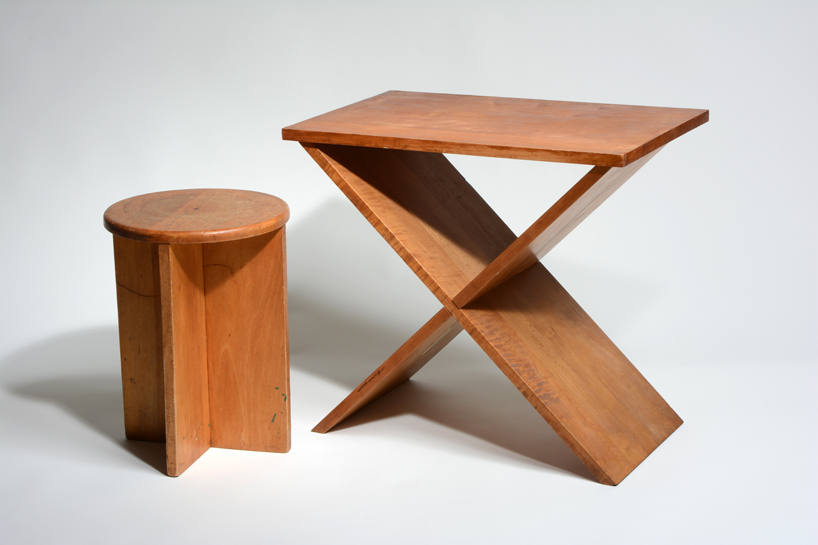 Charming A. Lawrence Kocher, Stool And Side Table, 1942, 16.125 X 11.625 X