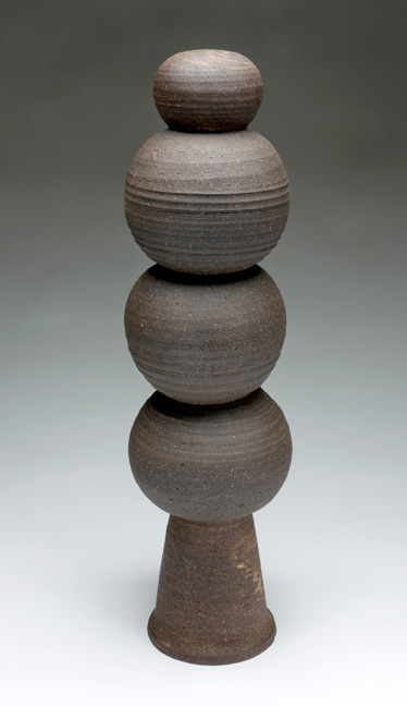 M.C. Richards, Alchemical Form, 1961, stoneware, 22 x 6 x 6 inches. Black Mountain College Museum + Arts Center Collection. Gift of the Estate of Jonathan Williams.