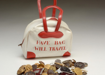 Ray Johnson, Have Bag Will Travel, ca. 1960s, bag with buttons inside, 7 x 5 3/4 x 2 inches, Black Mountain College Museum + Arts Center Collection. Gift of Marie Tavroges Stilkind.
