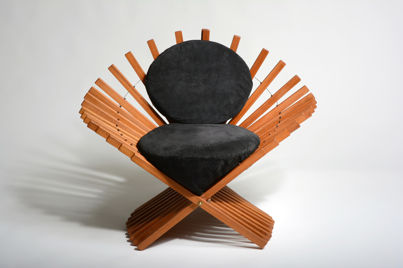 """Robert Bliss, """"Lady Murasaki's Fan Chair,"""" 1993. Teak, suede. Collection of Black Mountain College Museum + Arts Center. Gift of the Artist."""