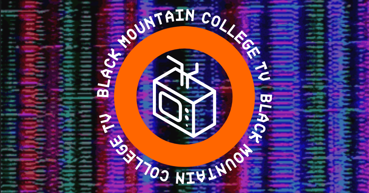 """BMC-TV logo showing television with circular banner reading """"Black Mountain College TV"""""""