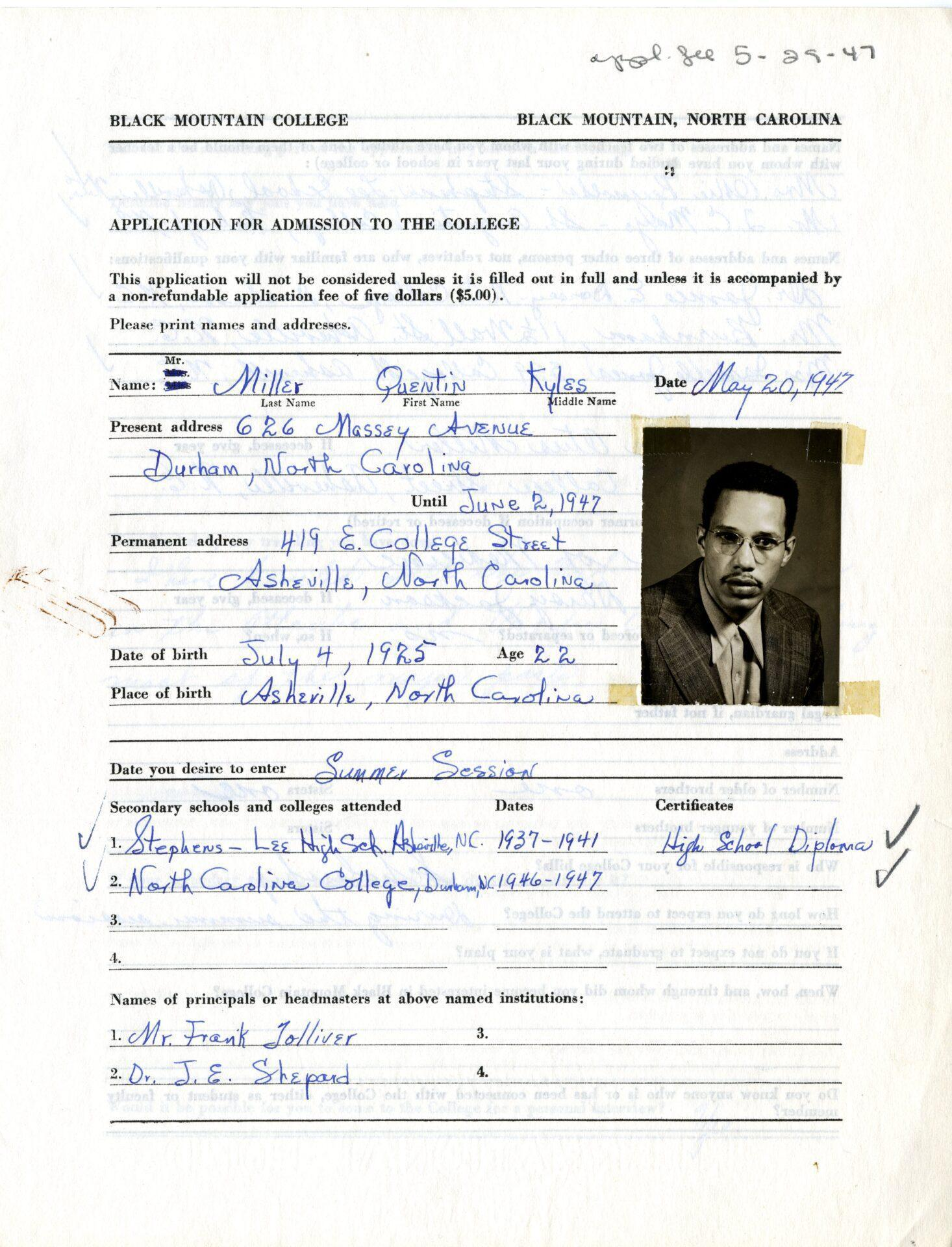 Quentin Kyles Miller (b. 1925 Asheville, NC - d. 1992 Asheville, NC) Application to BMC, 1947. Digital print from archival scan. Western Regional Archives, State Archives of NC.