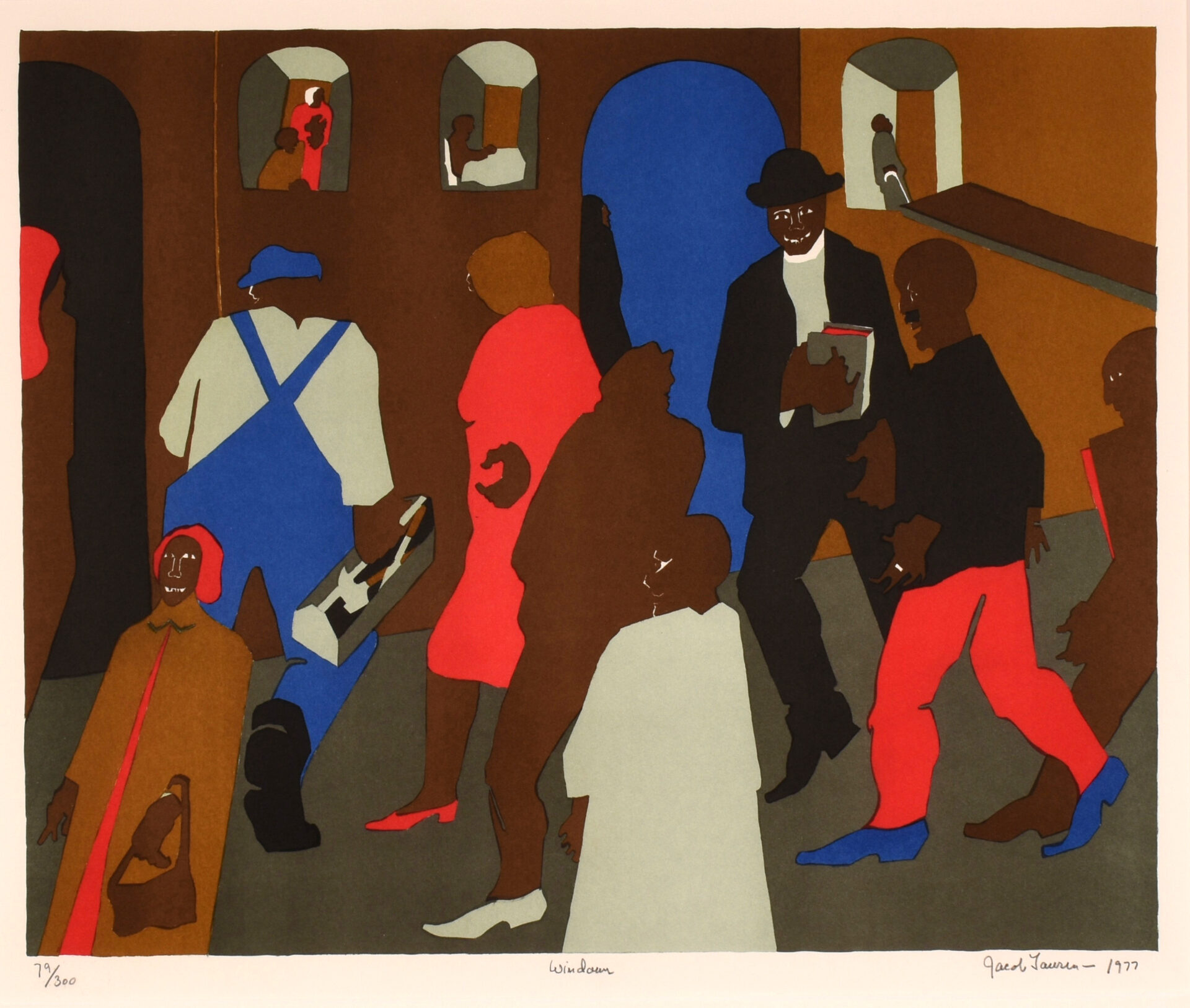 """Jacob Lawrence, """"Windows,"""" 1977. Silkscreen, ed. 70/300. Collection of Black Mountain College Museum + Arts Center. Gift of Gwendolyn Knight Lawrence."""