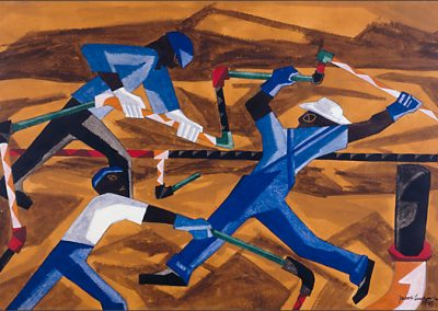 Jacob Lawrence, Steel Workers, 1946, gouache on paper.   ©2018 THE JACOB AND GWENDOLYN LAWRENCE FOUNDATION, SEATTLE AND ARTISTS RIGHTS SOCIETY (ARS), NEW YORK/PRIVATE COLLECTION