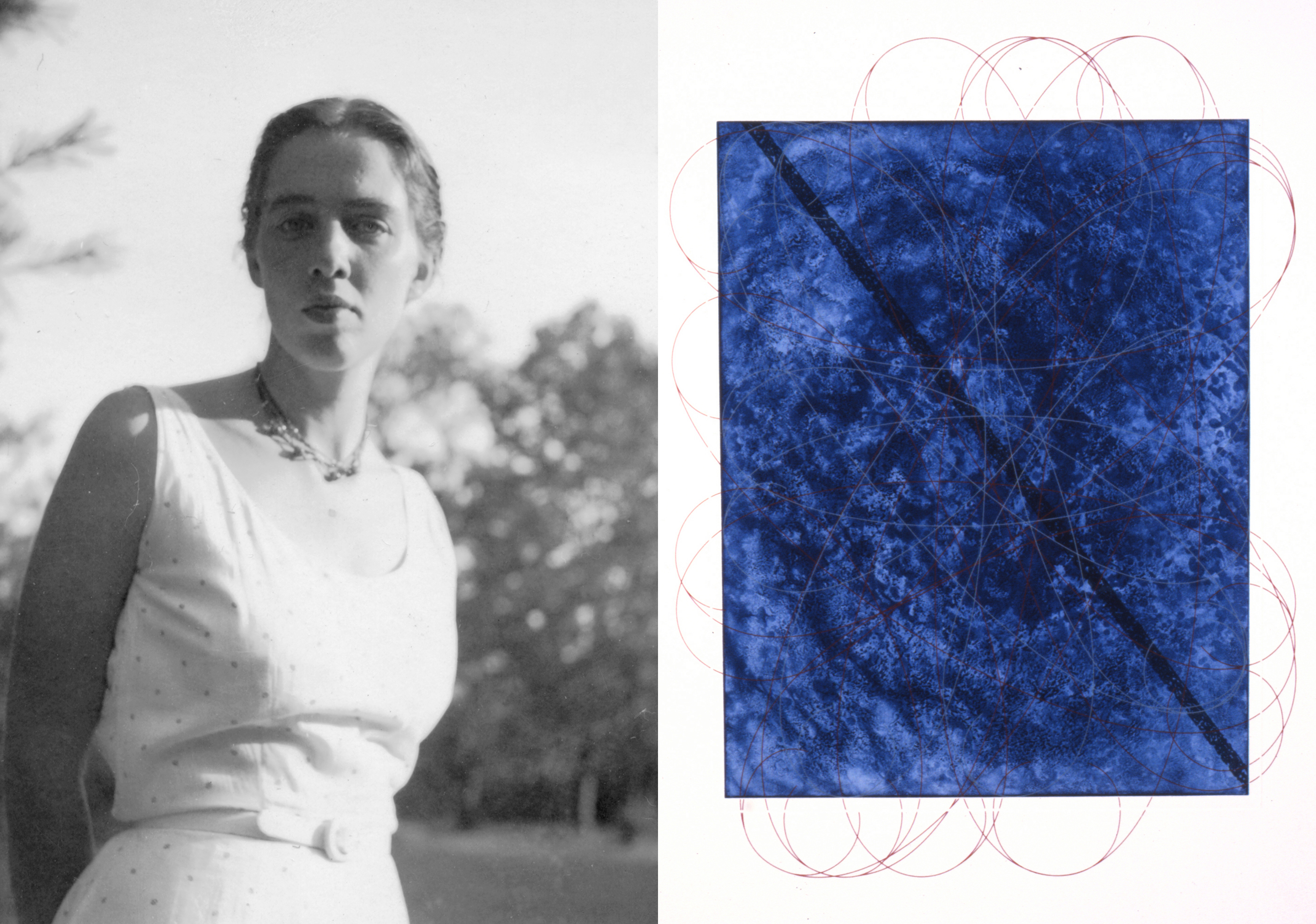 Left image is of a young Dorothea Rockburne in a sundress, photographed in black and white from the 1950s. To the right is an image of her work Blue Brane which features an upright deep blue rectangle overlaid with a layer of interweaving orbital marks in red ink.