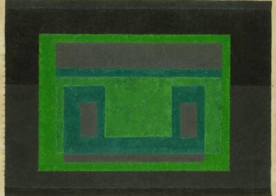 """Josef Albers, """"Variant/Adobe,"""" 1947. Oil on blotting paper. Collection of Hedy Fischer + Randy Shull."""