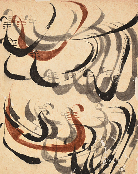 """Ati Gropius Johansen, """"Untitled (Gondolier Boats)."""" Ink on pulp paper. Collection of Black Mountain College Museum + Arts Center. Gift of the Artist."""