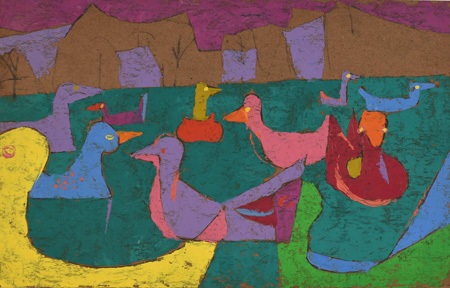"""Joseph Fiore, """"Ducks on Lake Eden,"""" 1947. Oil on cardboard. Collection of Black Mountain College Museum + Arts Center. Gift of Janet Heling Roberts."""