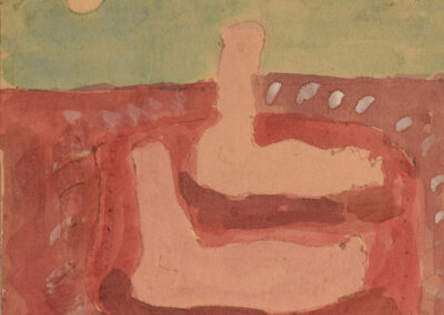 """Cynthia Homire, """"Untitled (I got this idea from Philip Guston...years & years of struggle for a few moments of grace),"""" 1993. Watercolor on paper. Collection of Black Mountain College Museum + Arts Center. Gift of the Artist."""