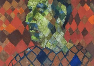 "Ingeborg Lauterstein, ""Portrait of Sewell Sillman,"" c. 1948-49. Oil on masonite. Courtesy of The Johnson Collection."