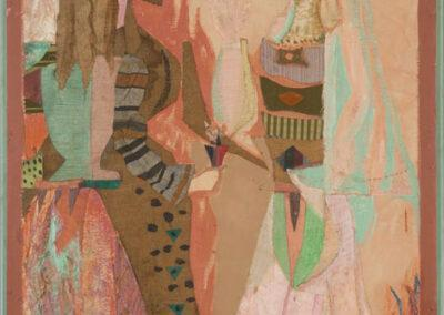"""Jean Varda, """"Veiled Figures."""" Fabric, textile, and mixed media collage on board. The Johnson Collection, Spartanburg, South Carolina."""